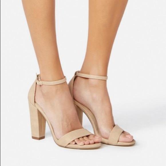 e371b6a7903 JustFab Makemba block heel sandal sz 5.5 in nude